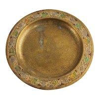 American Tiffany Studios Bronze Dore and Enameled Grape Leaves Plate