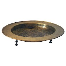 Spanish Engraved Brass Footed Brazier