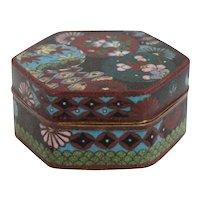 Japanese Cloisonne Enamel Hexagonal Box