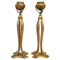 Pair of American Tiffany Studios Art Nouveau Bronze Dore Cat's Paw Candlesticks