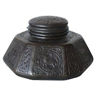 American Tiffany Studios Bronze Zodiac Pattern Desk Inkwell