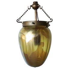 American Tiffany Studios Glass and Bronze One-light Stalactite Pendant Lamp