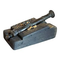 Early Indian Cast Bronze Miniature Cannon Model on Wood Stand