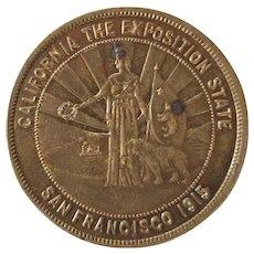 American Gilt Brass Panama-Pacific International Exposition 1915 State Dollar