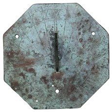 English Bronze Verde Patina Garden Octagonal Sundial