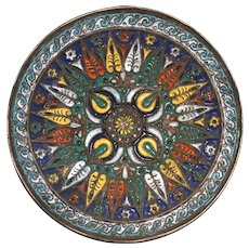 Small Vintage Round Bronze Cloisonne Enamel Plate