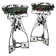 Pair of Vintage French Art Nouveau Style Painted Wrought Iron Jardinière Stands