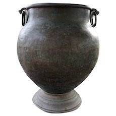 Very Large South Indian Hammered Brass Water Storage Pot on Stand