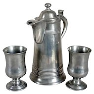 Three-Piece American New England Israel Trask Pewter Chalices and Flagon Communion Set