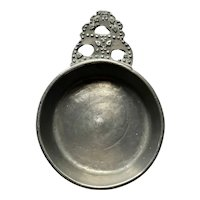 Small American Isaac C. Lewis Beaded Pewter Toy or Wine Taster Porringer