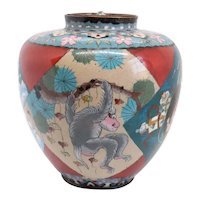 Large Japanese Meiji Cloisonne Enamel Monkey Ginger Jar