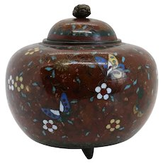 Small Japanese Cloisonne Brown Enamel Goldstone Footed Ginger Jar