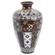 Small Japanese Meiji Cloisonne Enamel Goldstone Baluster Bud Vase