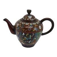 Miniature Japanese Meiji Cloisonne Brown Goldstone Enamel Teapot