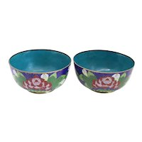 Pair of Small Chinese Cloisonne Enamel and Copper Blue Floral Bowls