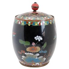Small Japanese Cloisonne Enamel and Copper Covered Tobacco Jar
