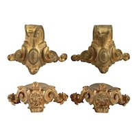 Two Pairs of French Gilt Bronze Mantel Clock Feet Mounts