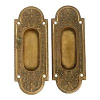 Pair of American Campion Mansion Gilt Bronze Sliding Door Pull Mounts