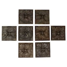 Set of Eight French Cast Bronze Square Rosette Furniture Mounts