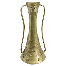 Japanese Meiji Art Nouveau Bronze Leaf Relief Two-Handle Vase