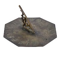 Small English Patinated Bronze Octagonal Tyme Flies Garden Sundial
