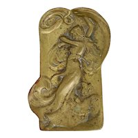 Art Nouveau Bronze Figural Pin, Vanity or Calling Card Tray