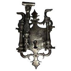 Spanish Baroque Iron Lock Box and Escutcheon