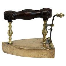 English Georgian Signed Brass and Wood Handle Box/Slug Iron
