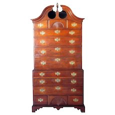 American Period Chippendale Walnut Bonnet Top Chest on Chest