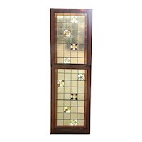Rare Pair of American Healy and Millet Stained, Leaded and Uranium Glass Trinity Church Windows