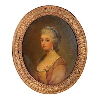 French School Oil on Art Board Painting, Portrait of a Lady