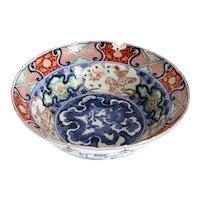 Japanese Meiji Imari Porcelain Scalloped Rim Center Bowl