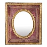 Small Gilt Framed Pink Velvet Lined Oval Mirror