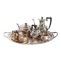 8-Piece English Charles Howard Collins Victorian Silverplate Tea Service