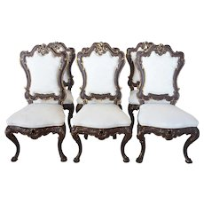 Set of Six Spanish Baroque Revival Painted and Upholstered Dining Chairs