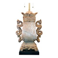 Heavy American Marbro Lamp Co. Chinese Stone Temple Jar Two-Light Table Lamp