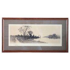 ERNEST C. ROST Etching on Paper, American Pastoral River Landscape