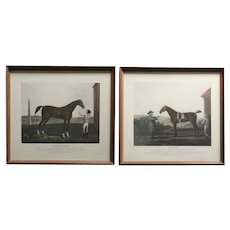 Two English Lithographs, Flying Childers and Diomed Race Horse Portraits
