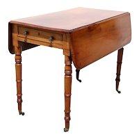 English Regency Style Mahogany Drop-Leaf Pembroke Table on Casters