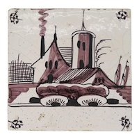 Dutch Delft Puce and Black Tin Glazed Pottery House Tile