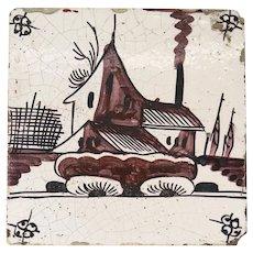 Dutch Delft Painted Pottery Tile