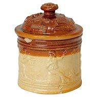 English Georgian Salt-Glazed Stoneware Pottery Tobacco Jar