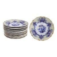 Set of 12 English Staffordshire Transferware Ironstone China Gilt and Flow Blue Dessert Plates