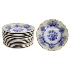 Set of 12 English Staffordshire Ironstone China Dessert Plates
