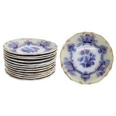 Set of 12 English Staffordshire Ironstone China Dessert Plates