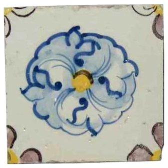 Portuguese Tin Glazed Ceramic Tile (Azulejo) (sold per piece)