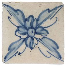 Portuguese Cobalt Tin Glazed Pottery Floral Azulejo Tile