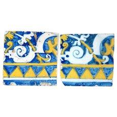 Set of Two Portuguese Baroque Period Tin Glazed Faience Pottery Tiles (Azulejos)