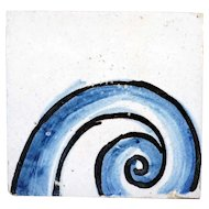 Portuguese Baroque Period Tin Glazed Ceramic Tile (Azulejo) (Sample, several available)