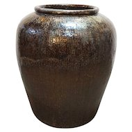 Large Chinese Qing Brown Glazed Pottery Water Urn